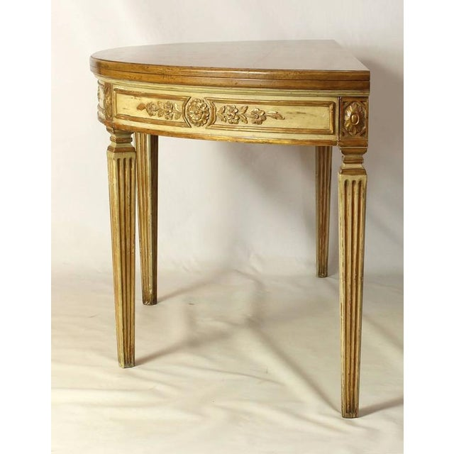 Italian Neoclassical Folding Demilune Table For Sale - Image 3 of 10