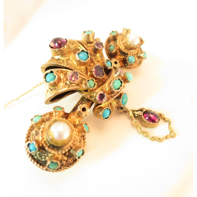 Georgian Baroque Brooch 10k Gold Amethyst Turquoise Pearls Circa 1840 For Sale - Image 4 of 12