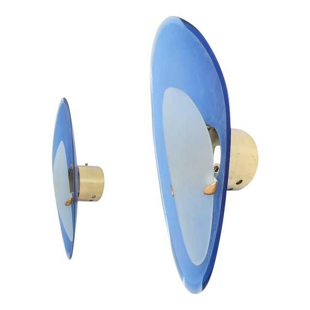 Pair of Max Ingrand Fontana Arte Blue Glass Sconces Wall Lamps, Italy, 1960 For Sale