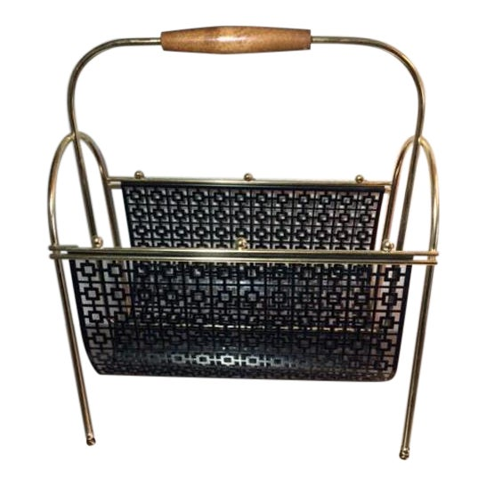 Mid-Century Brass and Black Metal Magazine Rack - Image 1 of 4