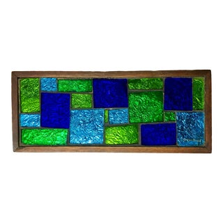 Georges Briard Teak Wood Box With Mosaic Glass Tiles For Sale