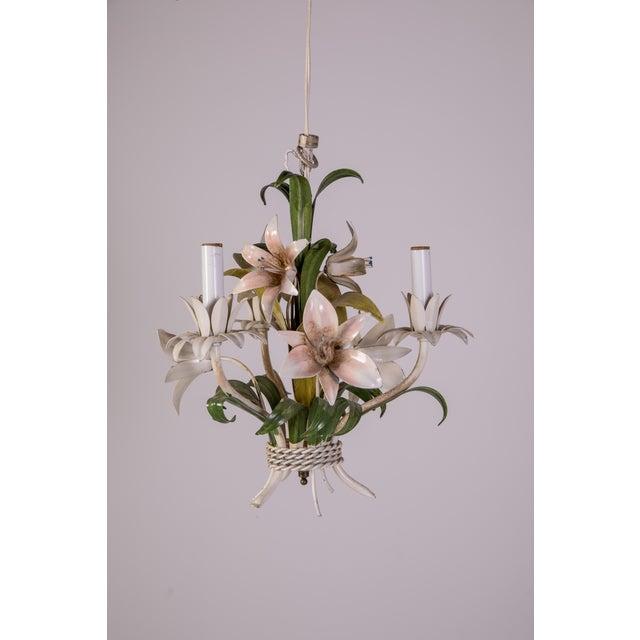 Madcap Cottage Tole Lily 3-Light Chandelier For Sale - Image 4 of 12