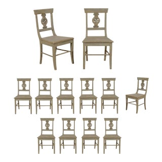 Carved Wood Dining Chairs - Set of 12 For Sale