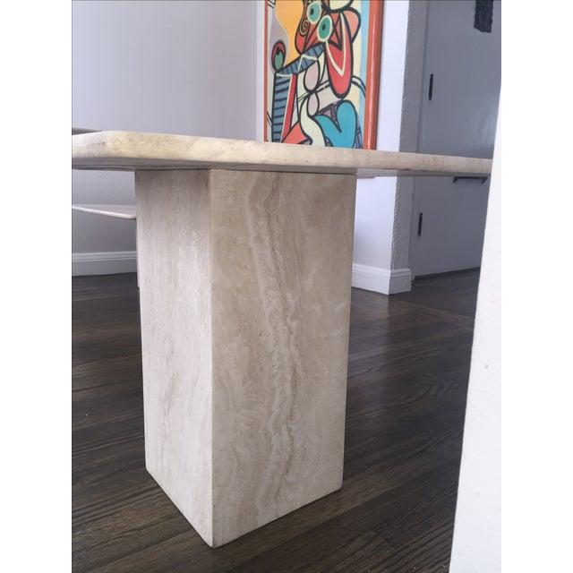 Italian Travertine Marble Side Table - Image 5 of 6