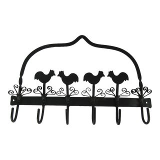 Vintage Black Iron Chicken Wall Hook For Sale