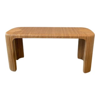 Vintage Boho Chic Split Reed Bamboo Console For Sale