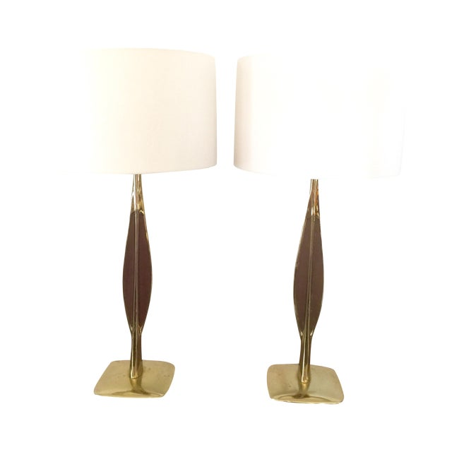 Gold Laurel Lamp Co. Brass & Walnut Lamps - Pair For Sale - Image 8 of 8