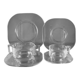 Joe Colombo Arno Italy Glass Service for 6 Dinnerware - 36 Piece Set For Sale