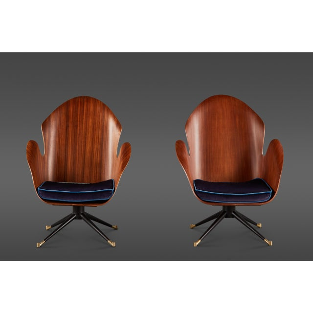 Rare and Sculptural Pair of Mid-Century Italian Swivel Chairs For Sale - Image 11 of 11