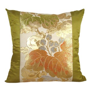 Golden Grapevine Japanese Silk Obi Pillow Cover For Sale