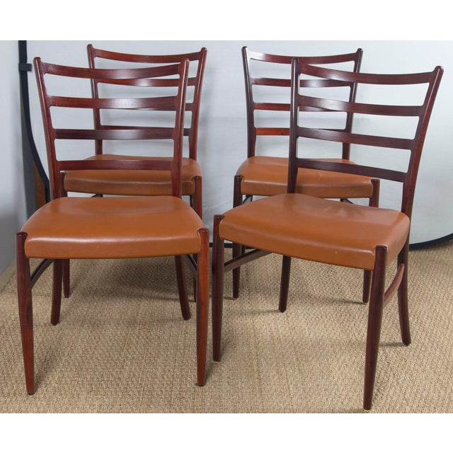 Rosewood Game Table & 4 Chairs For Sale - Image 11 of 13
