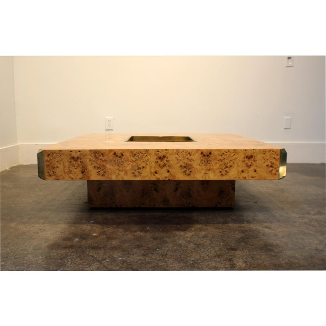 Italian 1970's Italian Willy Rizzo Burl Wood and Brass Coffee Table. For Sale - Image 3 of 8
