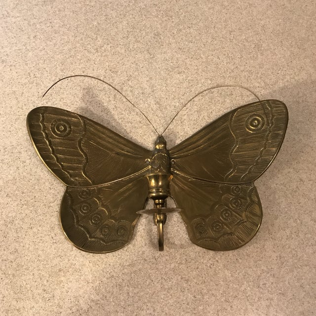 1970s Boho Chic Brass Butterfly Wall Candle Holder For Sale - Image 12 of 13