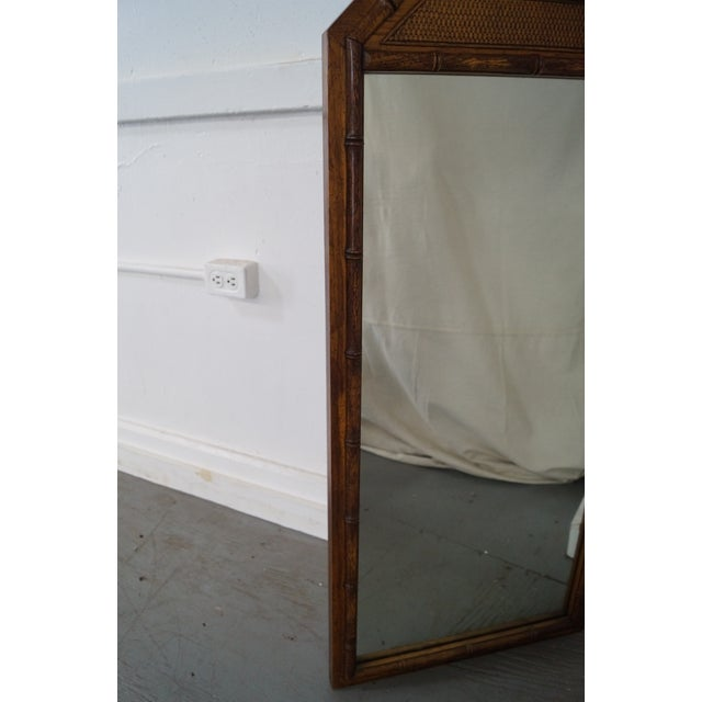 Vintage Walnut Faux Bamboo Frame Wall Mirror - Image 10 of 10