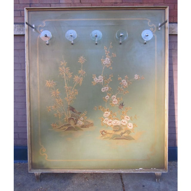 1920s Vintage Art Deco Chinoiserie Italian Atelier Green Painted Hall Tree Coat Rack For Sale - Image 4 of 13