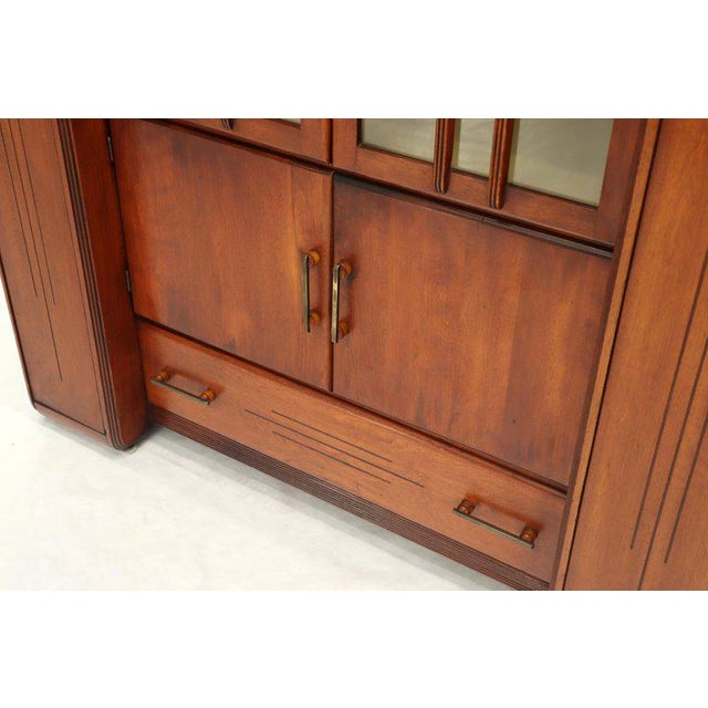 1940s Art Deco Waterfall Lift Top Compartments Bar Storage Sideboard Cabinet Bookcase For Sale - Image 5 of 11