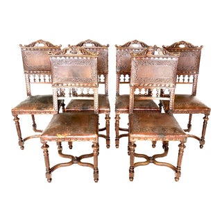 Antique Spanish Hand-Tooled Leather and Walnut Dining Side Chairs - Set of 6