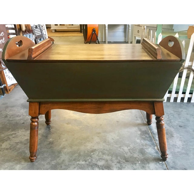 Late 19th Century Country Cypress Green / Java Gel Stain Antique Primitive Doughbox Table For Sale - Image 5 of 5
