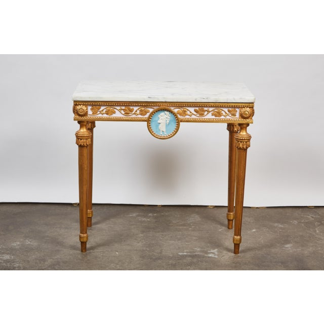 Wood 1790's Swedish White Marble and Gilded Console and Mirror For Sale - Image 7 of 10