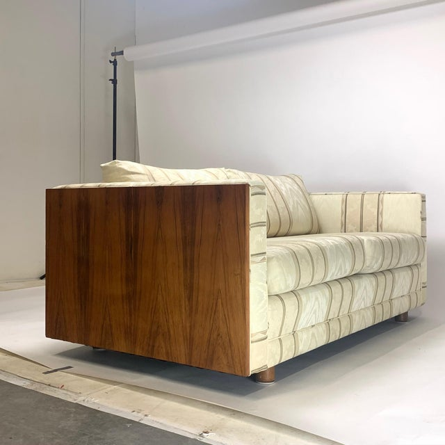 Floating Milo Baughman Cased Rosewood Tuxedo Sofas / Settees-2 Available For Sale - Image 10 of 13