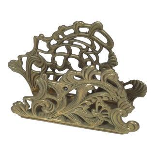 Organic Design Solid Brass Letter Holder For Sale