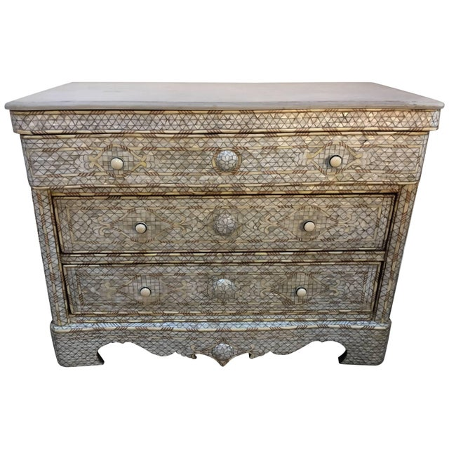 White Syrian Wedding Chest of Drawers Inlay with Mother-Of-Pearl For Sale - Image 9 of 9