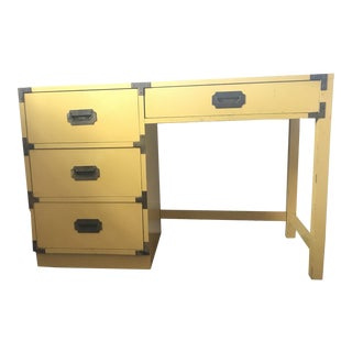 1960s Campaign-Style Mustard Writing Desk For Sale