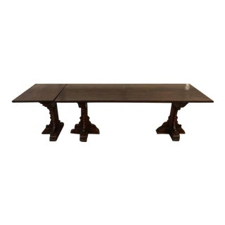 Colby's Antique Gothic Walnut Dining Table W/ Extension For Sale