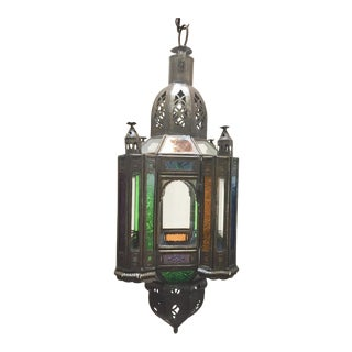 Moroccan Handcrafted Moorish Pendant Lantern With Multi-Color Glass For Sale