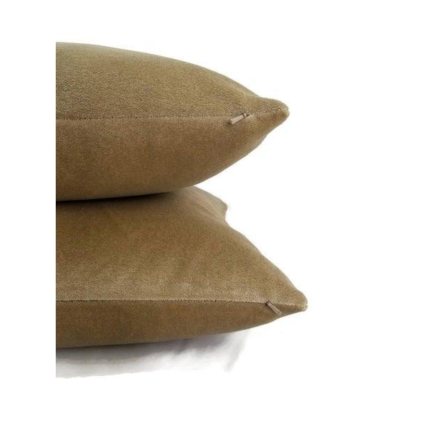 Tan Holly Hunt Aqua Velvet Sand Pillow Cover For Sale - Image 8 of 10