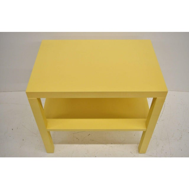 Modern Modern Decca Yellow Grasscloth Raffia Wrapped Parsons Nightstand For Sale - Image 3 of 10