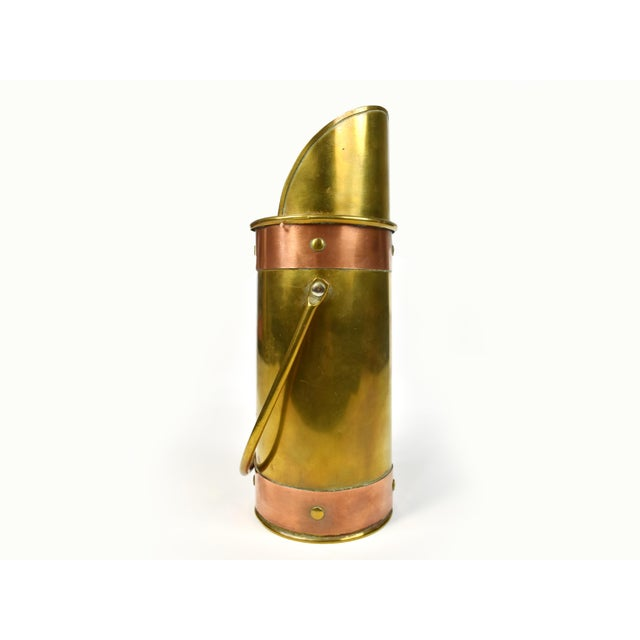 Unique vintage brass scuttle with copper trim is perfect accent for your décor, mantle, fireplace or on any table or...
