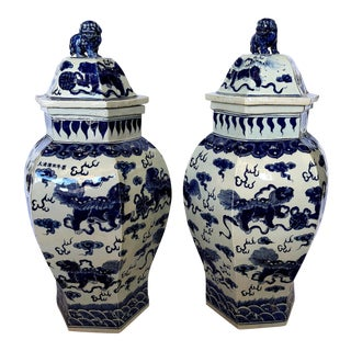 X Large Qing Dynasty Hexagonal Temple Jars With Foo Lids - a Pair For Sale