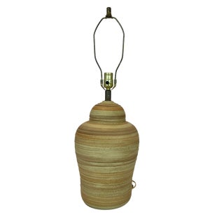 Mid Century Modern Mar-Kel Striped Pottery Table Lamp in the Style of Martz For Sale
