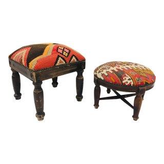 Set Antique Kilim Ottomans For Sale