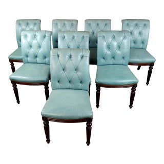 Jonas Tufted Teal Blue Leather & Mahogany Dining Chairs -Set of 8 For Sale