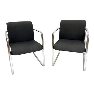 Marvelous Peter Protzman for Herman Miller Chrome Black Fabric Chairs - a Pair For Sale