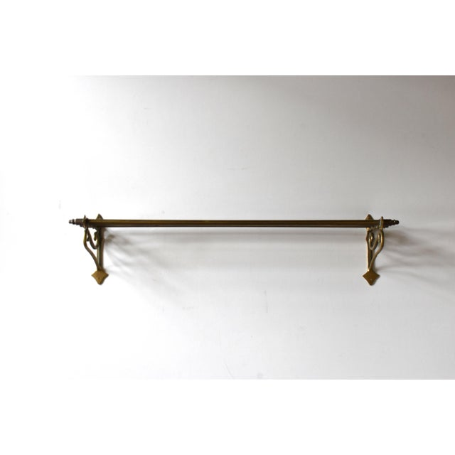 Edwardian Early 20th Century Vintage Brass Wall Towel Rack For Sale - Image 3 of 9