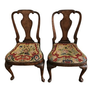 1790 Queen Anne Needlepoint Dining Side Chairs- A Pair For Sale
