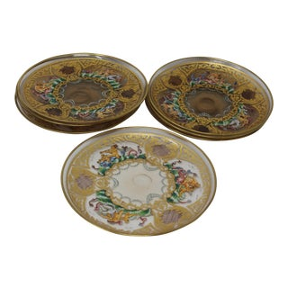 Antique Hand Blown Murano Glass Enameled Dishes - Set of 7 For Sale