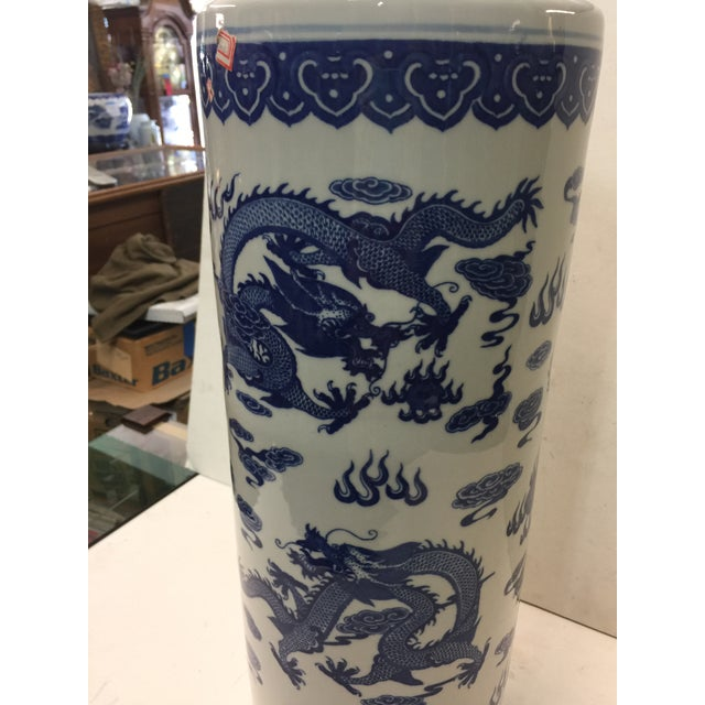 """Circa 1950 , blue and white umbrella stand . This measures 22"""" tall x 8"""" across. Excellent condition. Very clean...."""