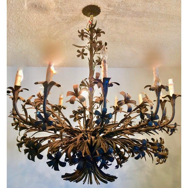 1960s Hollywood Regency Floral Metal Brutalist Chandelier For Sale - Image 10 of 10