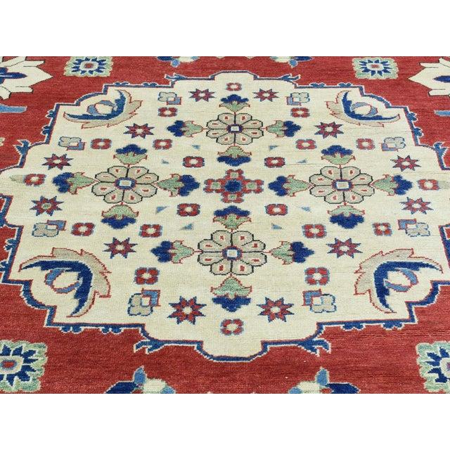 Shahbanu Rugs Hand-Knotted Kazak Geometric Design Wool Rug- 10′1″ × 14′ For Sale - Image 4 of 6