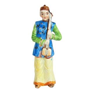 Vintage Hand Painted Male Figurine Holding Shamisen