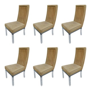Charles Hollis Jones Dining Chairs in Lucite and Nickel - Set of 6 For Sale