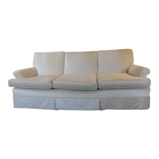 Vintage Mid-Century Modern Long Three Cushion Velvet Upholstered Sofa For Sale