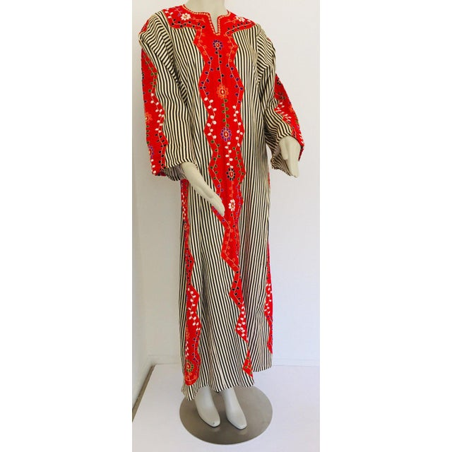Textile Vintage Middle Eastern Ethnic Caftan, Kaftan Maxi Dress For Sale - Image 7 of 13
