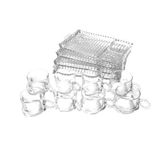 Vintage Mid Century 1950's 12 Piece Snack Party Serving Sets, by Hazel Atlas Glass Company For Sale