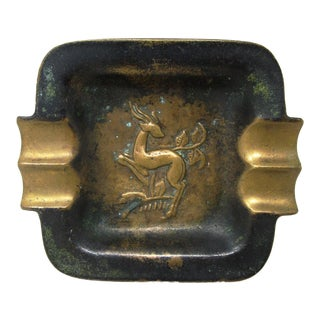 Early 20th Century Art Deco Bronze Ashtray Antelope Deer For Sale