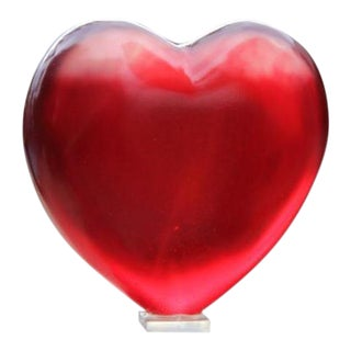 Glowing Crimson Heart Decorative Object For Sale